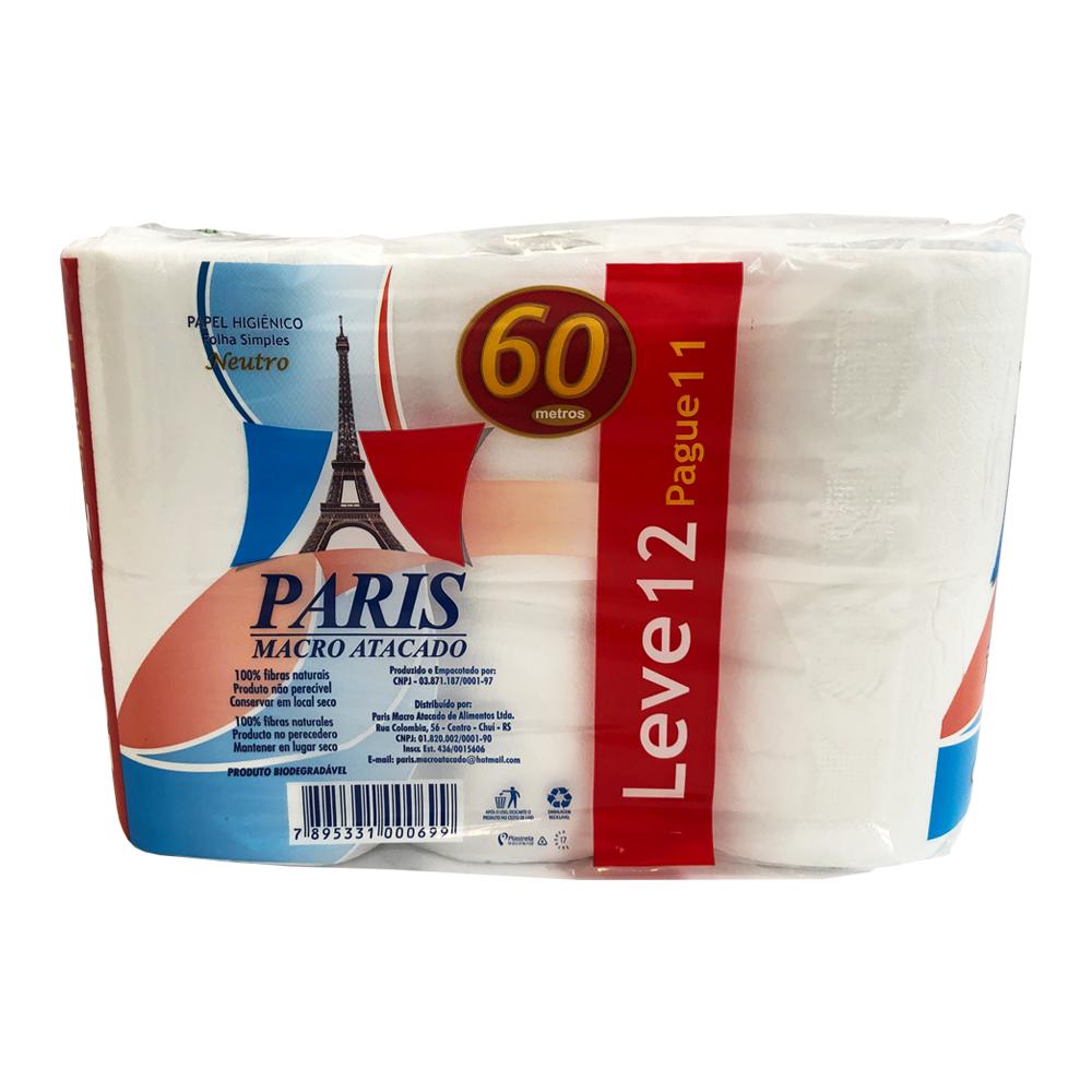 Papel Higiênico Paris - Leve 12 Pague 11 - 60m